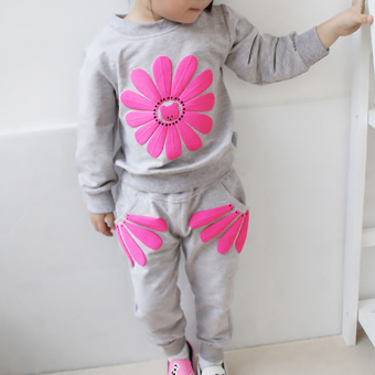 YBC Spring Girls 2pcs Sunflowers Clothes Set Long Sleeved Shirt + Pants Grey