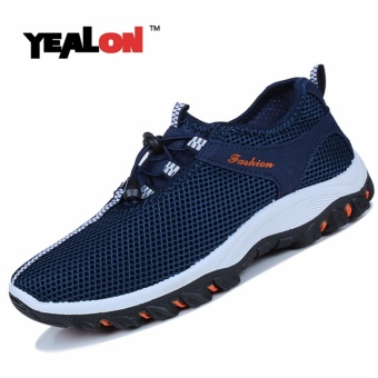 YEALON Hiking Shoes For Mens Outdoor Sport Breathable Hiking Waterproof Trekking Camping Travel Navy Mountain Shoes Man Walking Casuals Shoes Sneaker Man Sports - intl
