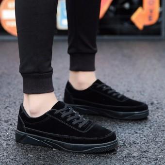 YEALON Kasut Lelaki Krasovki Men Sneakers Men Luxury Leather Sports Shoes For Male Running Shoes Training Krasovki Schuhe Herren Sneaker Black Lace-Up - intl