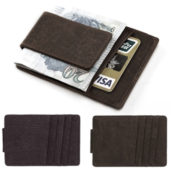 Yidabo Men Synthetic Leather Wallet Credit Card ID Holder withMagnet Money Clip (Coffee) - Intl
