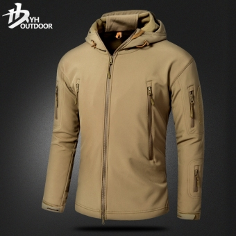 Yihe windproof waterproof warm Camouflage climbing clothes fleece jacket (Sand Color)