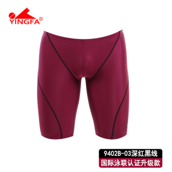 Yingfa casual male long short swimming trunks (9402B-03 deep red and black line)