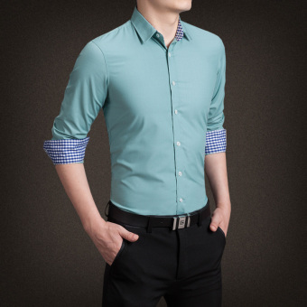 YMV Men's Korean-style Business Long Sleeve Solid Color Shirt (C13 gray green)