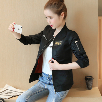 Yonshine Women's Korean-style Baseball Jacket & Quilted (C178 black)