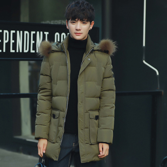 Youth mid-length thick Plus-sized jacket winter New style coat (Dark green color)