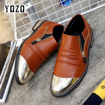YOZO British All-Match Pointed Mens Shoes Italian Fashion Mens Dress Shoes Genuine Leather Black Wedding Male Shoes - intl