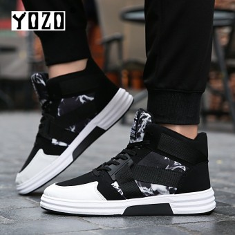 YOZO Casual Men Shoes Cool Tide Lace-Up High Top Canvas Shoes For Man Male Comfort Leisure Flats Men Running Shoes - intl
