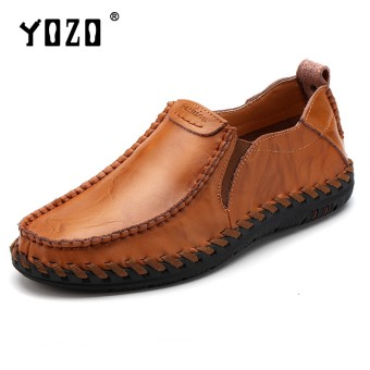 YOZO Fashion Genuine Leather Soft Loafers For Men Slip On Moccasins Boat Flats Shoes Driving Shoes - intl