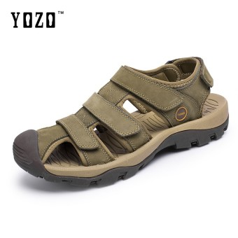 YOZO Genuine Leather Men Sandals Summer Cow Leather New For Beach Male Shoes Mens Sandal Wading Shoes Large Size 38-46 Yards - intl