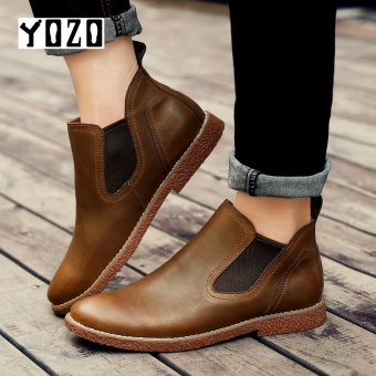 YOZO Men Ankle Genuine Leather Mens Boot Cow Leather Boots High Quality Men Shoes - intl