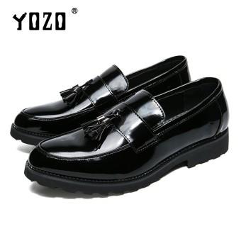 YOZO Men Banquet Loafers Slip On Fashion Men Leather Moccasin Glitter Men Italian Leather Shoes Men Wedding Black Dress Shoes - intl