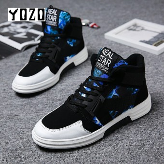 YOZO Men Running Shoes Casual Men Shoes Cool Tide Lace-Up High Top Canvas Shoes For Man Male Comfort Leisure Flats - intl