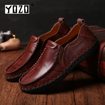 YOZO Men Shoes Driving Shoes Fashion Genuine Leather Soft Loafers For Men Slip On Moccasins Boat Flats Shoes - intl