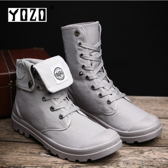 Yozo Men Shoes Fashion Denim Boots Two Ways Of Wearing Flock Lace Up Comfortable Trend Men Boots Grey - intl
