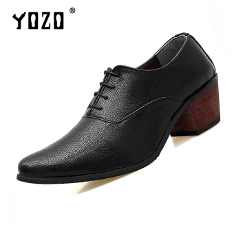 Yozo Men Shoes Fashion High-Heeled Casual Leather Shoes Lace Up Super Fiber Comfortable Trend Men Formal Business ShoesBlack - intl