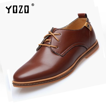 Yozo Men Shoes Korean Classic All-Match Leisure Leather Shoes Man Laced Leather Shoes WinklepickersBrown - intl