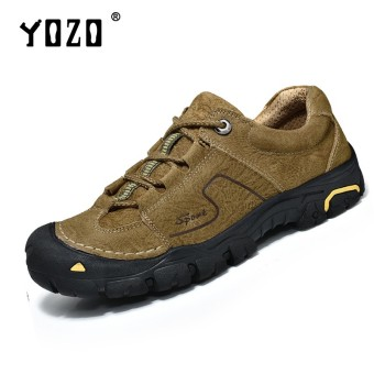 YOZO Shoes Men Winter Leather Men Waterproof Rubber Boots Leisure Boots England Retro Shoes For Men Outdoor Climbing Shoes - intl