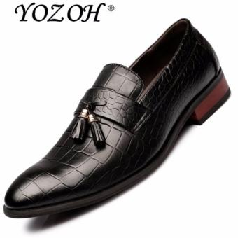 YOZOH Men Dress Italian Leather Shoes Slip On Fashion Men Leather Moccasin Glitter Formal Male Shoes Pointed Toe Shoes For Men-Black - intl