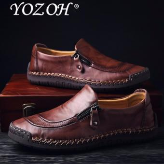 YOZOH Men Genuine Leather Shoes Slip On Black Shoes Real Leather Loafers Mens Moccasins Shoes Italian Designer Shoes- intl