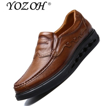 YOZOH Men Shoes Casual Oxford Genuine Leather Classic Male Elegant Office Business Dress Formal Shoes - intl