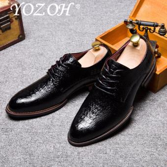 YOZOH Men Wedding Dress Shoes Black Brown Oxford Shoes Formal Office Business British Lace-up Men's Footwear-Black - intl
