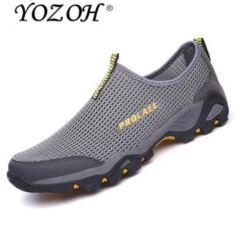 YOZOH Sepatu Olahraga Pria Sepatu Outdoor Hiking Sepatu Casual Running Slip-Ons & Loafers-Grey - intl