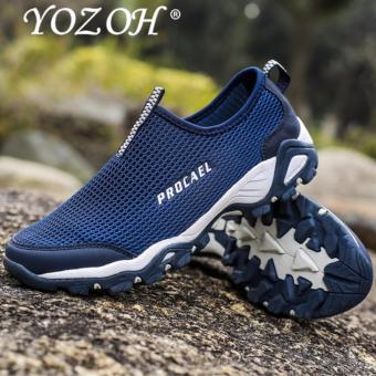 YOZOH Sepatu Olahraga Pria Sepatu Outdoor Hiking Sepatu Casual Running Slip-Ons & Loafers-Dark blue - intl