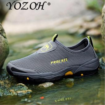 YOZOH Sport Shoes Men's Outdoor Shoes Hiking Casual Shoes Running Slip-Ons & Loafers-Grey - intl