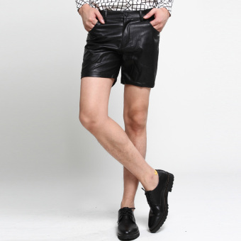 Yuppie versatile straight-cut leather shorts