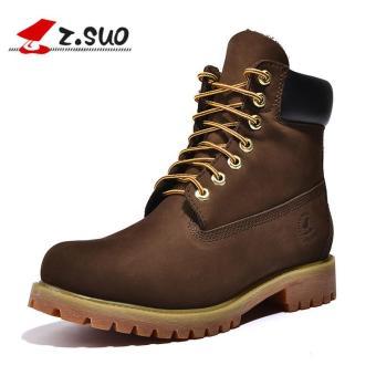 Z.SUO Men's Waterproof Work Boot Genuine Leather Shoes Coffee - intl