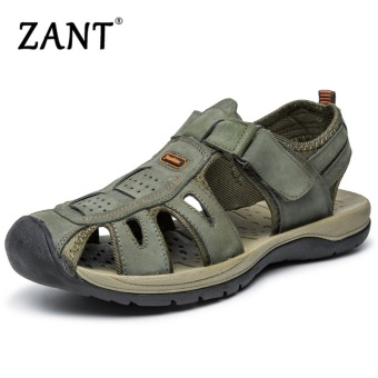ZANT New Summer Shoes Fashion Summer Sandals Style Leather Male Sandals Men Shoes Casual Shoes for Man Black