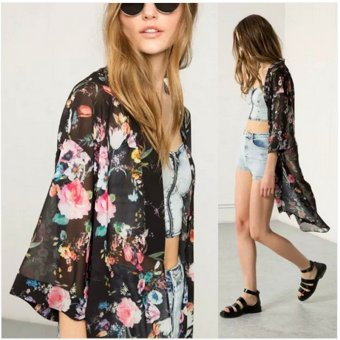 ZANZEA Bohemian Kimono Casual Loose Long Cardigan Ladies Chiffon Blouses Shirts Smock Women Vintage Outwear Tops Plus Size (Black) - intl
