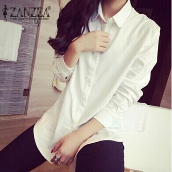 ZANZEA Fashion Spring Women Blusas Casual Loose Buttons Long SleeveBlouses Turn-down Collar Shirts Tops Plus Size S-5XL (White) - intl