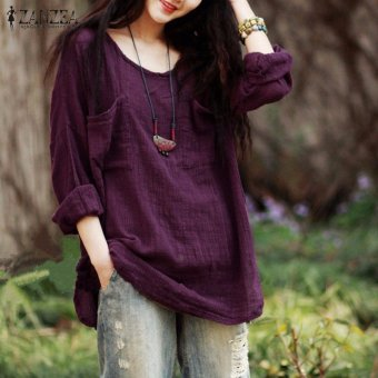 ZANZEA New Arrival Autumn Shirt Women Blouses Casual Loose Tops O-Neck Long Sleeve Cotton Shirts Plus Size (Purple) - intl
