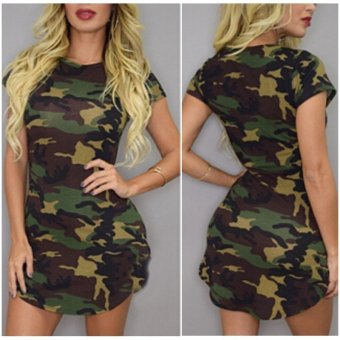 Zanzea Sexy Ladies Short Sleeve Casual Camouflage Slim Party Mini Dress - Intl