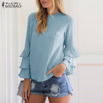 ZANZEA Women Blouses Ladies O-Neck Flounce Long Sleeve Solid Blusas Casual Loose Tops Plus Size (Blue) - intl