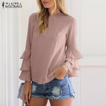 ZANZEA Women Blouses Ladies O-Neck Flounce Long Sleeve Solid Blusas Casual Loose Tops Plus Size (Pink) - intl