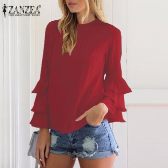 ZANZEA Women Blouses Ladies O-Neck Flounce Long Sleeve Solid Blusas Casual Loose Tops Plus Size (Wine Red) - intl