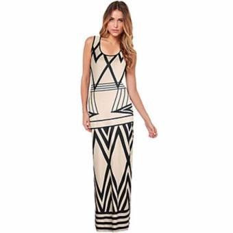 Zanzea Women Geometric Print Summer Long Maxi Dress 2017 New Brand Casual Sleeveless Bodycon Party Dresses Vestidos White Plus Size
