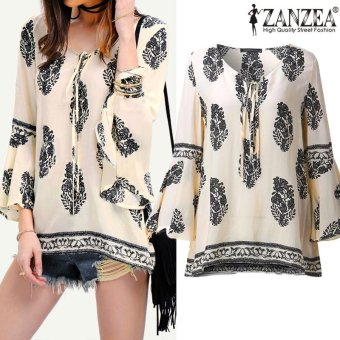 ZANZEA Womens Lace-Up V-Neck Shirt Oversized Boho Floral Print Flare Sleeve Casual Loose Blouse Tops (OffWhite) - intl