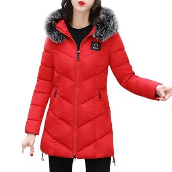 Zapramoon Women Ladies Slim Hooded Down Padded Long Winter Thickening Warm Parka Outwear Fashion Jacket Coat - intl