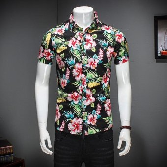 ZMGANG Men Floral Slim Fit Short Sleeve Beach Turn Down Collar Casual Shirt - intl