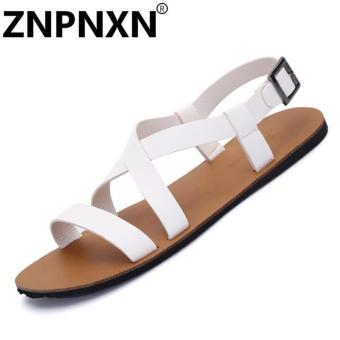 ZNPNXN Leather Men's Fashion Sandals  White