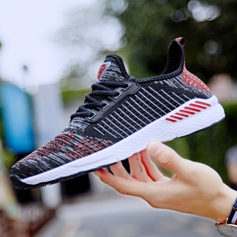 ZNPNXN Lovers Shoes Fashion Sports Shoes Slip-On Running Shoes Breathable Wear-Resisting Luxury Shoes Size 36-46 Yards Black & Red - intl