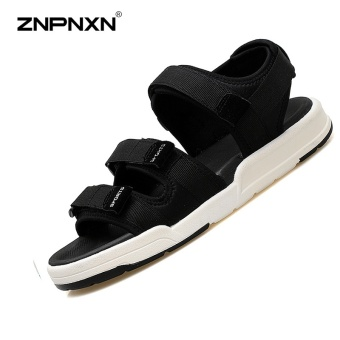 ZNPNXN Lovers Shoes Summer New Style Trend Men Slippers Comfortable And Soft Mens Shoes Fashion High End Leisure Sports Sandals Size 35-44 Yards Black - intl