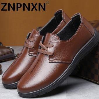 ZNPNXN Luxury Designer Formal Mens Dress Shoes Genuine Leather Black Basic Flats For Men Wedding Office Kasut Kulit Lelaki Brown - intl