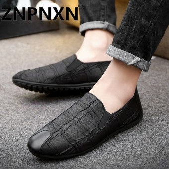 ZNPNXN Man'S Slip-Ons&Loafers Fashion Leather Shoes Fashion Men Breathable Slip-On Leather Shoes British Style - intl
