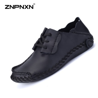 ZNPNXN Men Shoes Fashion Genuine Leather Driving Shoes Men Shoes Casual Comfort Doudou Shoes Outdoor Leisure Shoes Black - intl