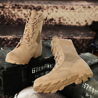 ZNPNXN Men Shoes High Top Military Boots Trend Comfortable Shoes Men Fashion Quality Tactical Boots Training Boots - intl