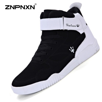 ZNPNXN Men'S Shoes Fashion Casual Sport Shoes Tide Shoes Comfortable Ventilated Running Shoes Men'S Outdoor Sports Shoes Black & White - intl